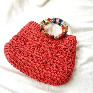 Capelli straw purse beaded ring handle red